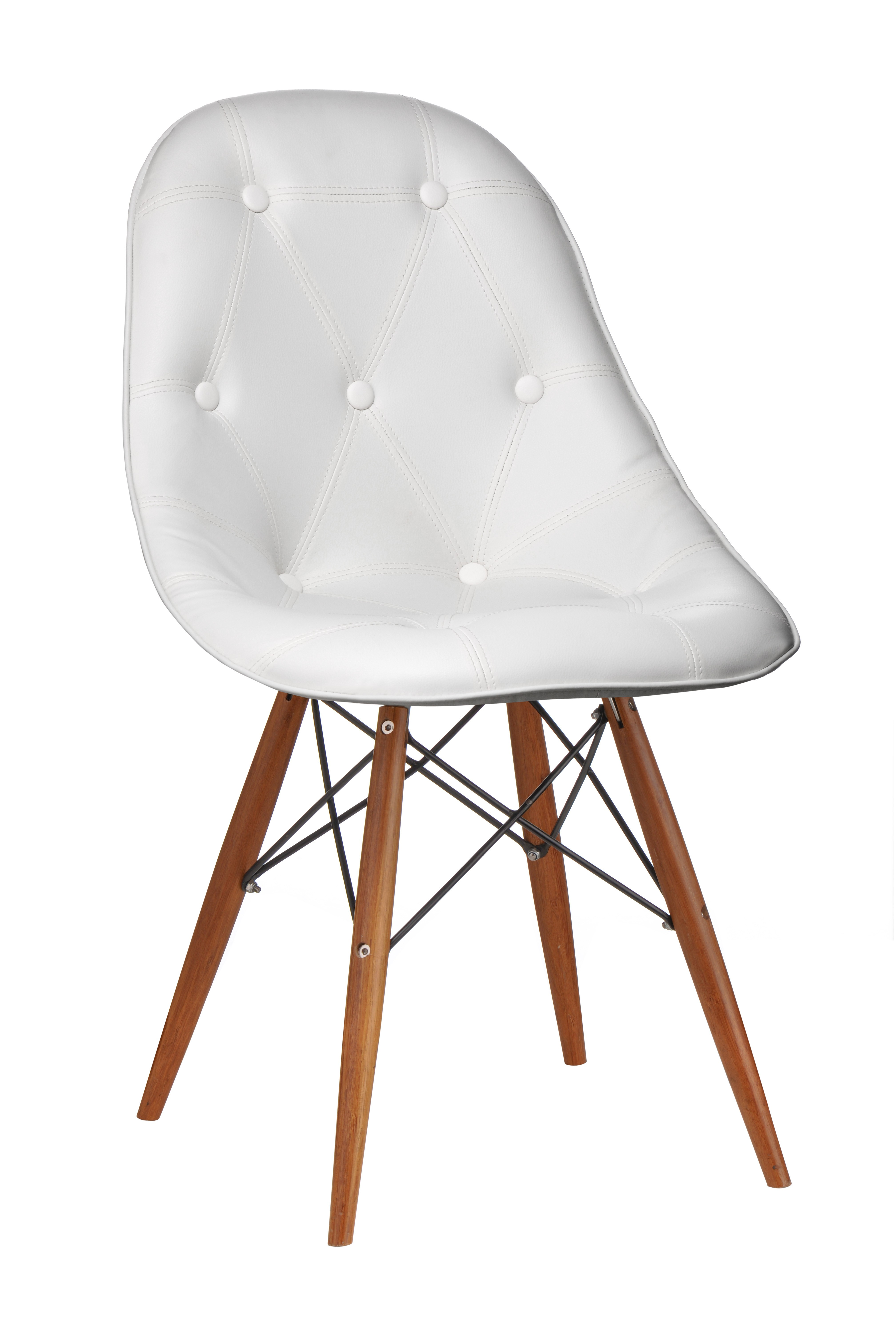 Occasional Chair, White Leather Effect - Set Of 2