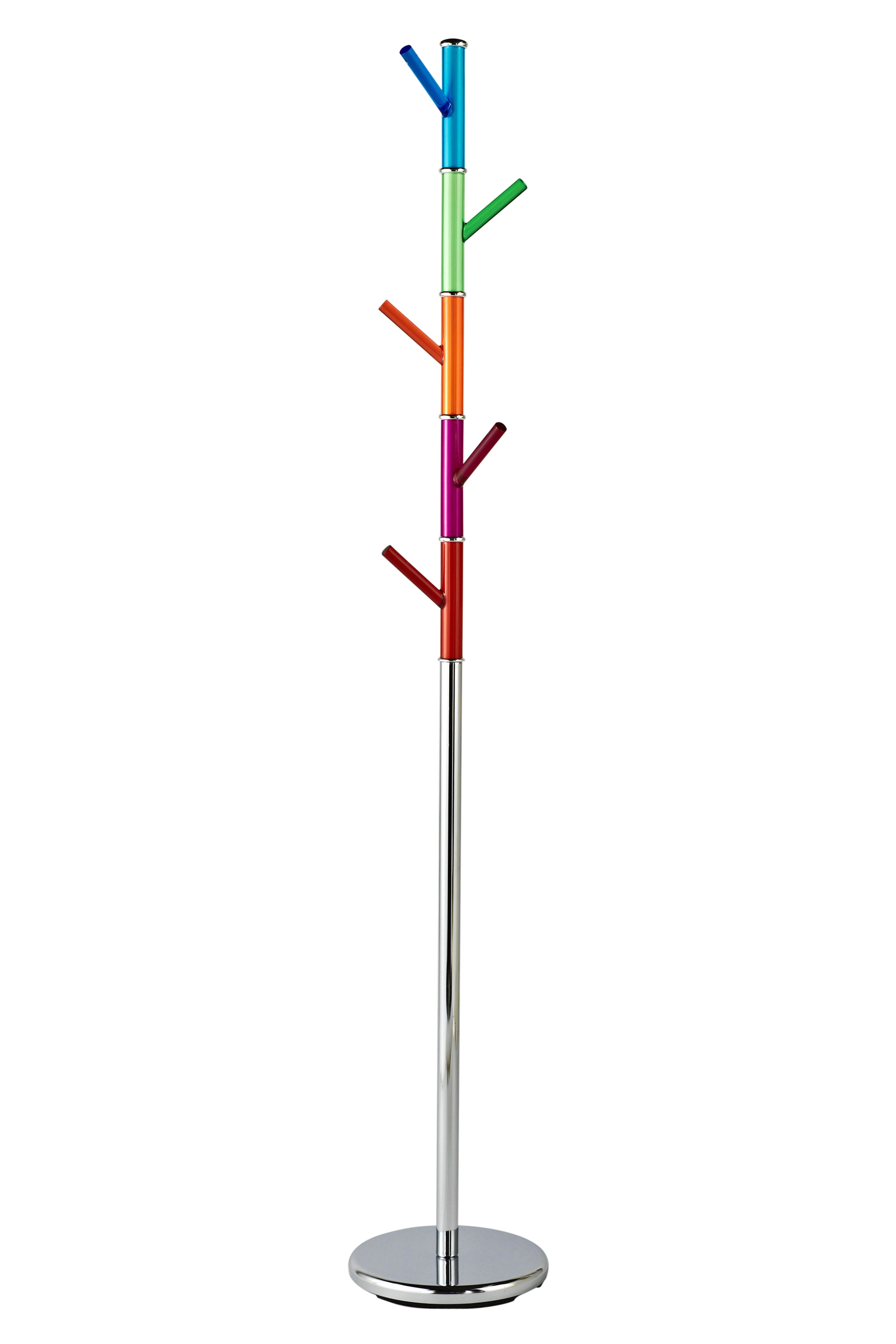 Coat Stand with Multi-Coloured Acrylic Pegs - Chrome