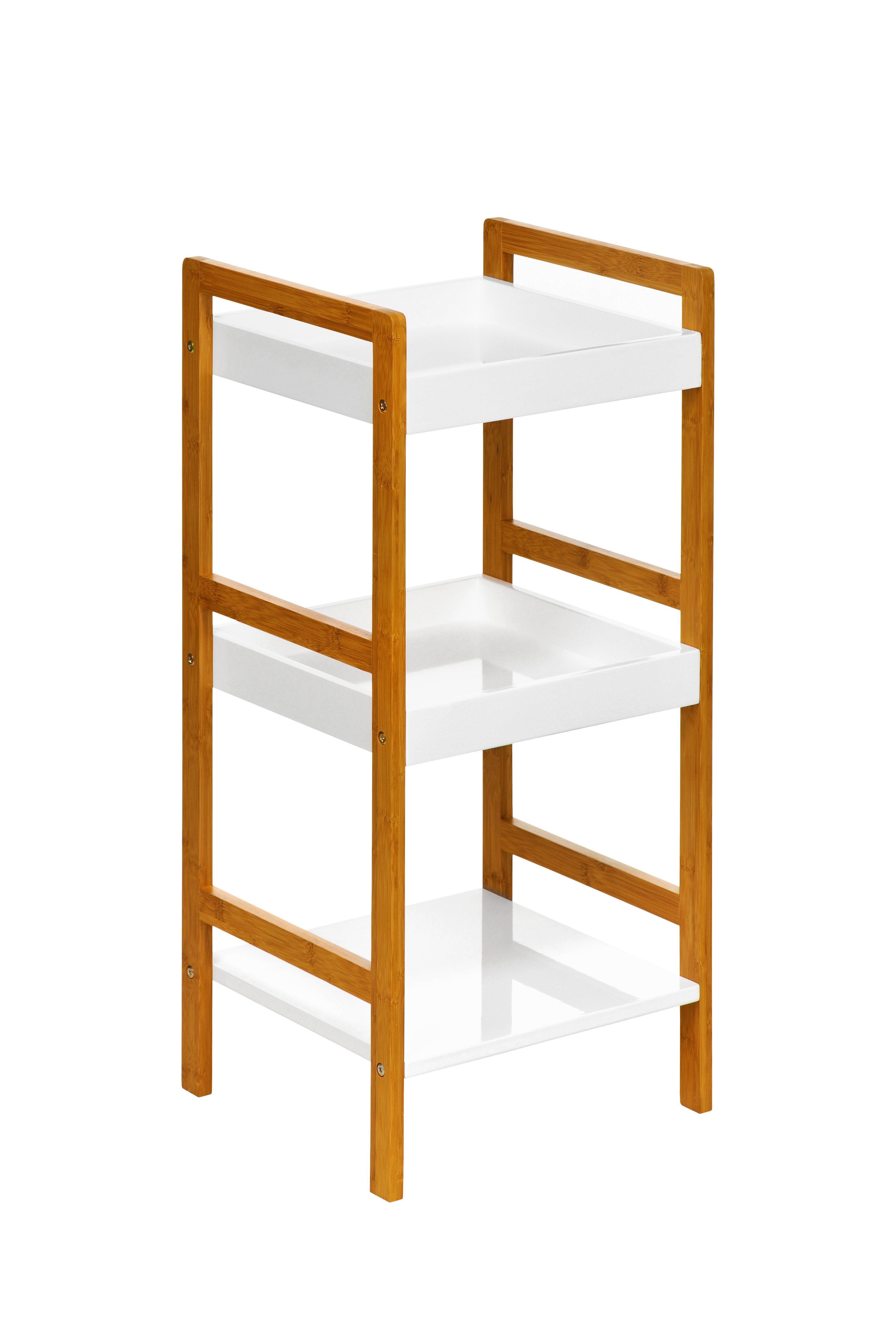 Prime Furnishing 3-Tier Shelf Unit, Bamboo - White