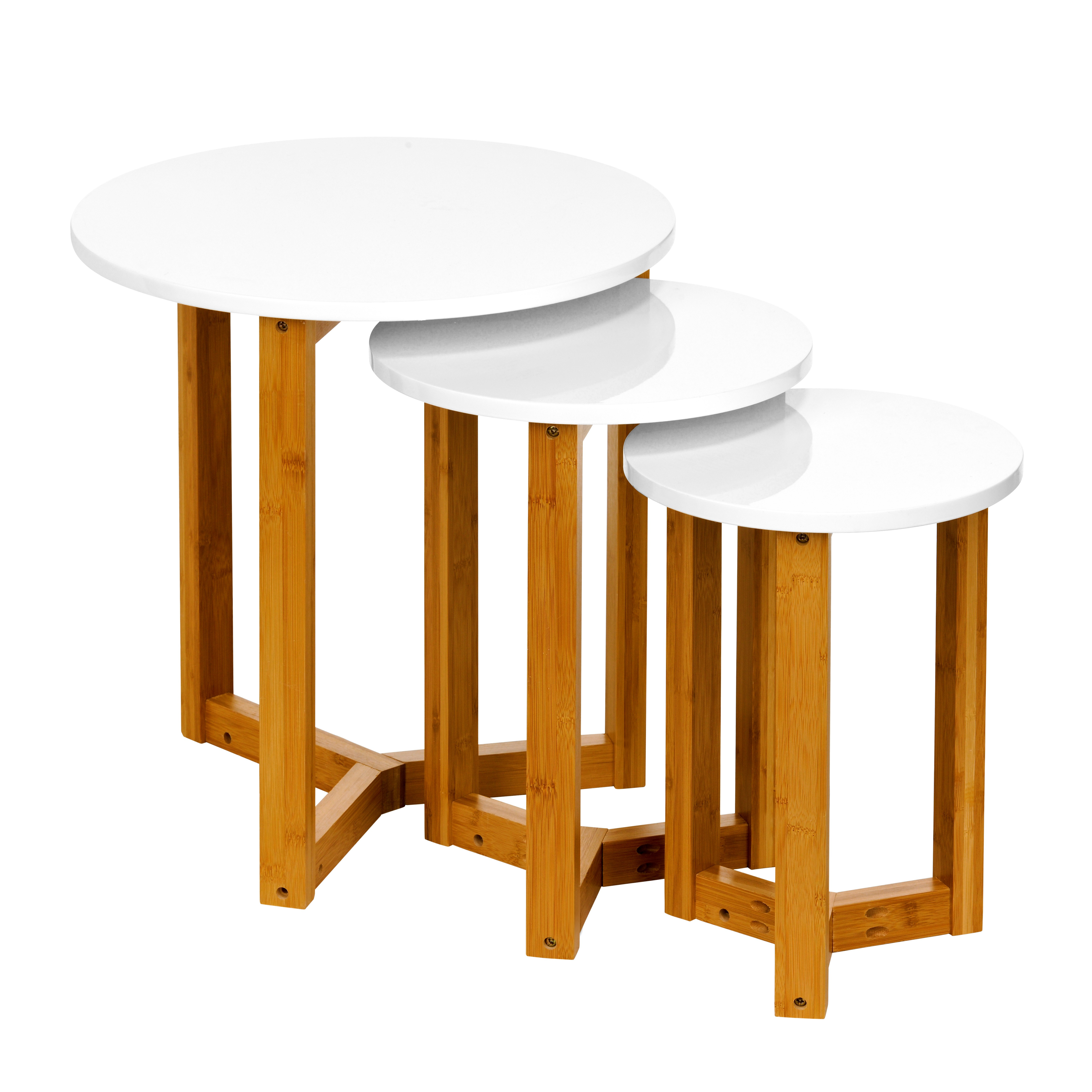 Nest Of 3 Tables MDF/White High Gloss Finish Bamboo Legs