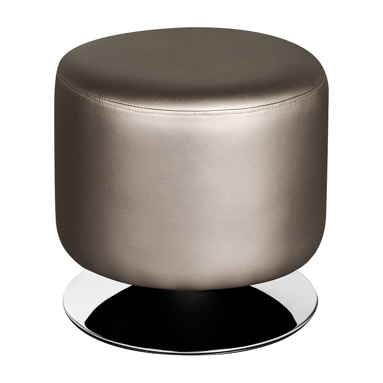 Cylinder Stool, Graphite Leather Effect