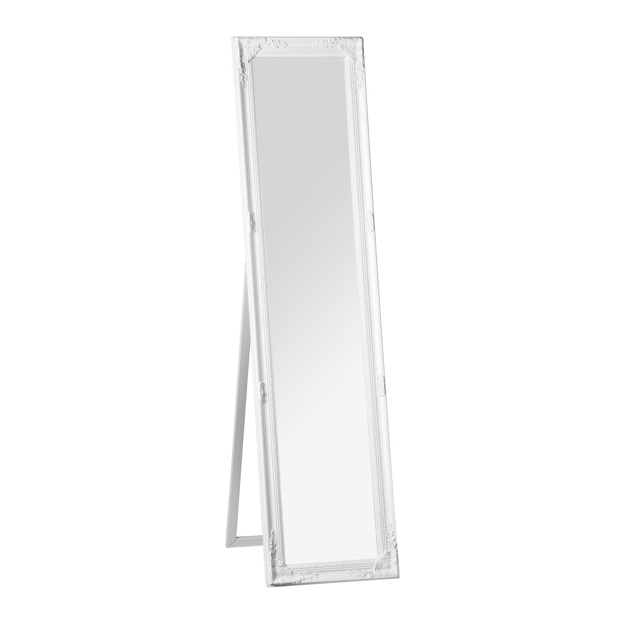 Prime Furnishing Chic Vintage Floor Standing Mirror - White Fini
