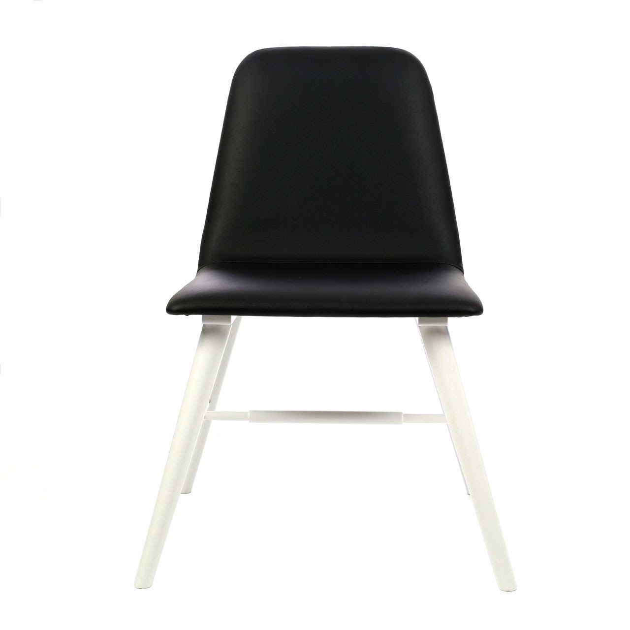 2 Dining Chair Black Leather Effect White Legs