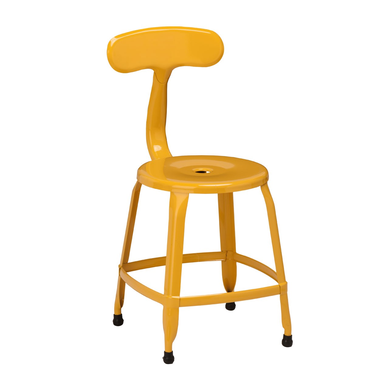 4 x Disc Chair Yellow Powder Coated Metal
