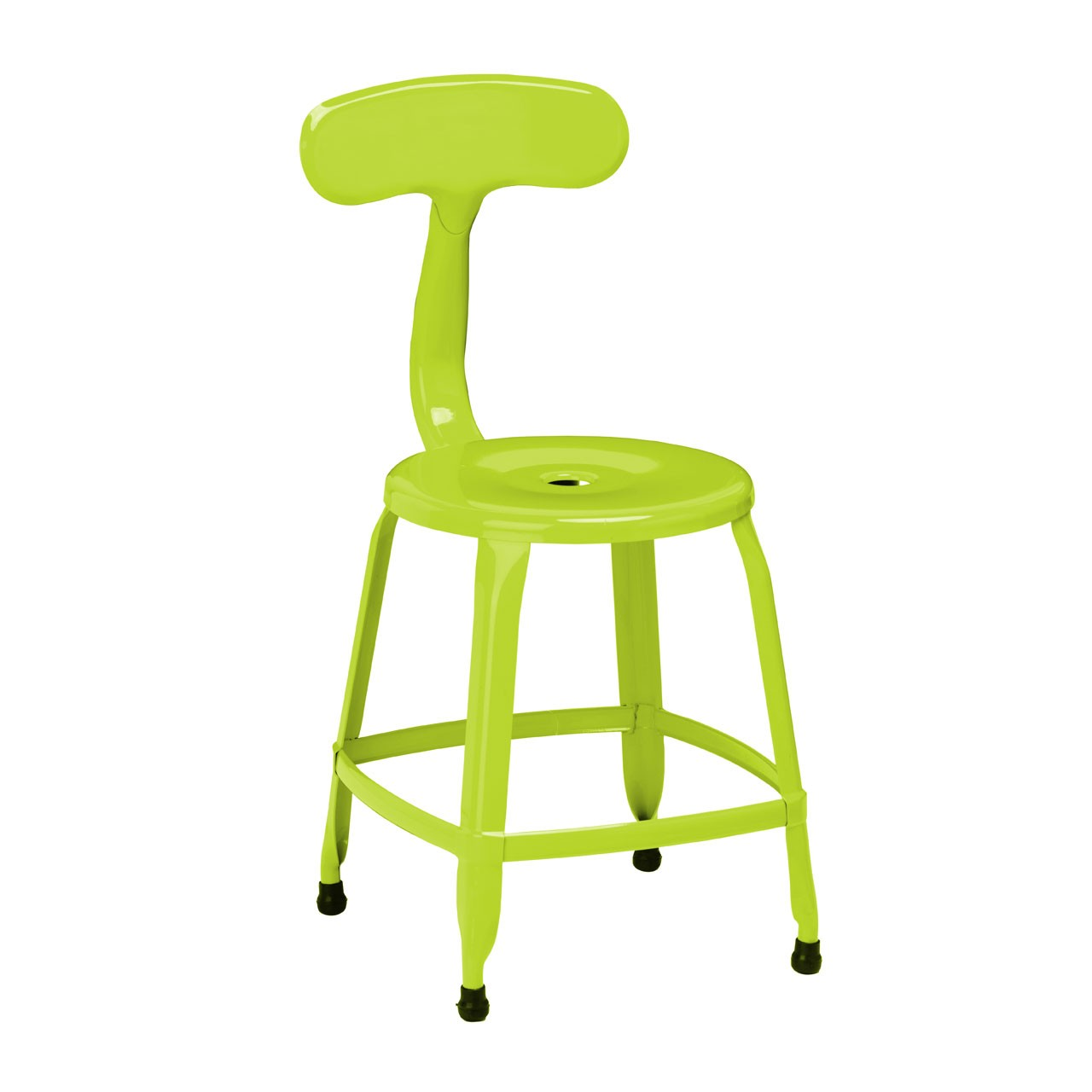 4 x Disc Chair Lime Green Powder Coated Metal