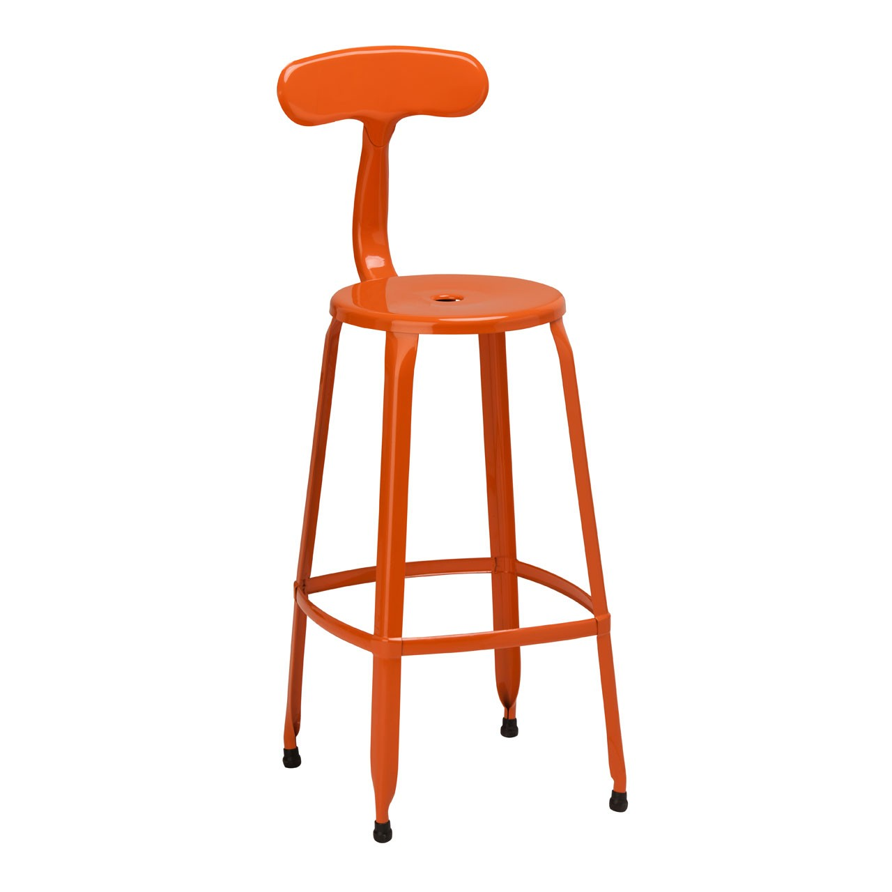 4 x Breakfast Chair Disc Bar Chair Powder Coated Metal Orange