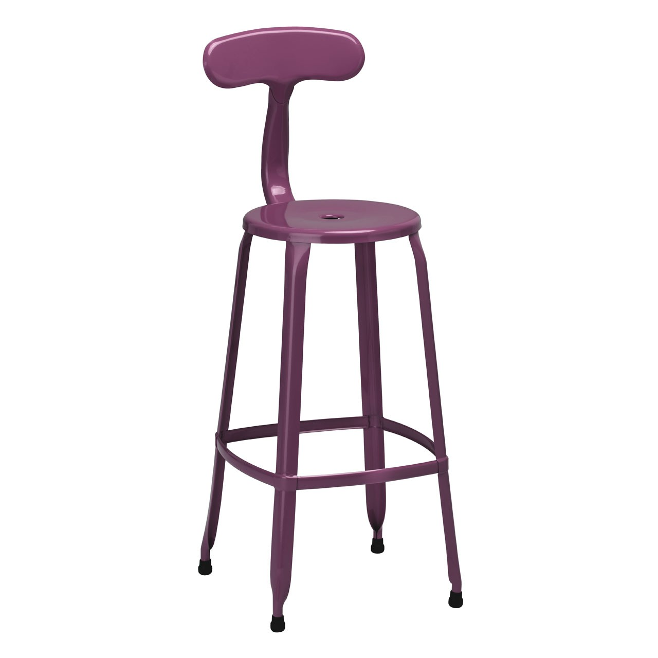 4 x Breakfast Chair Disc Bar Chair Powder Coated Metal Purple