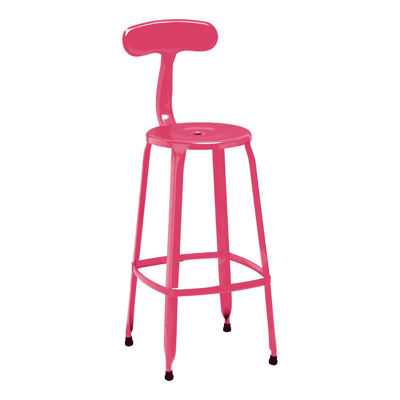 4 x Bar Breakfast Chair Disc Chair Powder Coated Metal Hot Pink