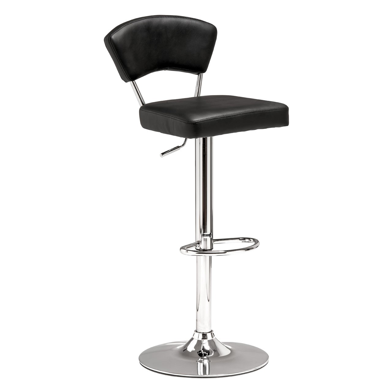 2 x Anya Bar Chair Leather Effect Chrome Finish Base Black
