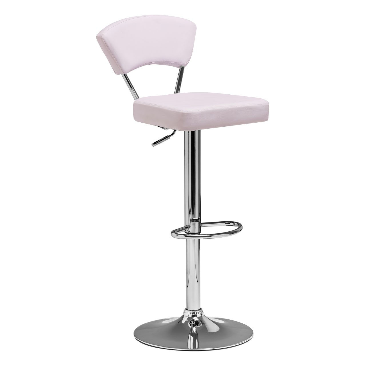 2 x Anya Bar Chair Leather Effect Chrome Finish Base White