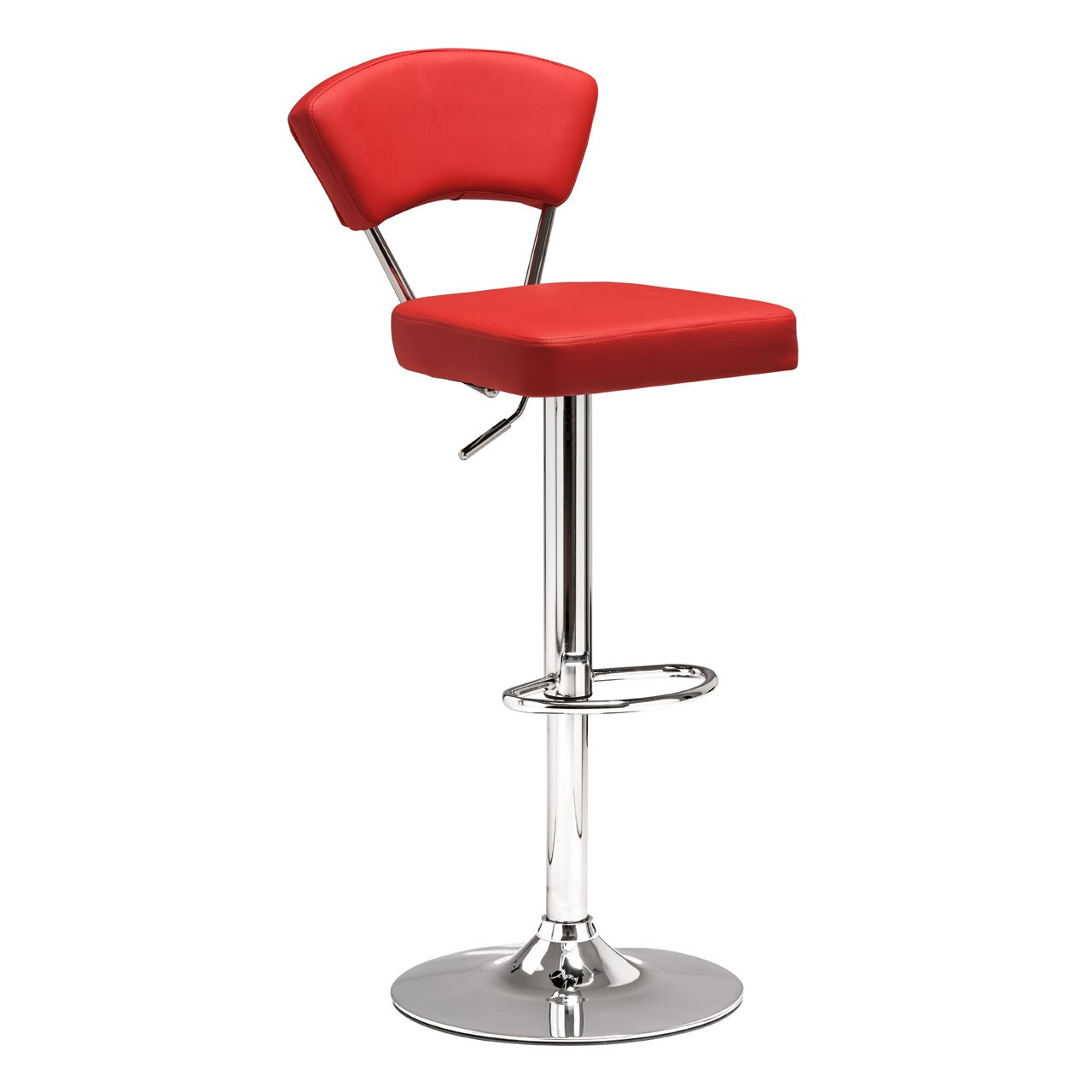2 x Anya Bar Chair Leather Effect Chrome Finish Base Red