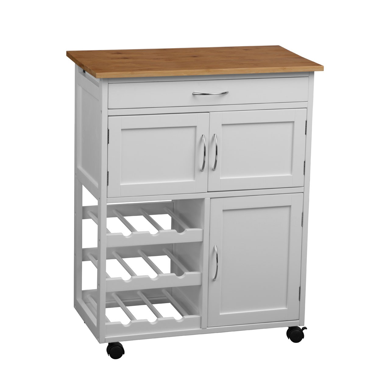 Kitchen Trolley with Bamboo Top - White