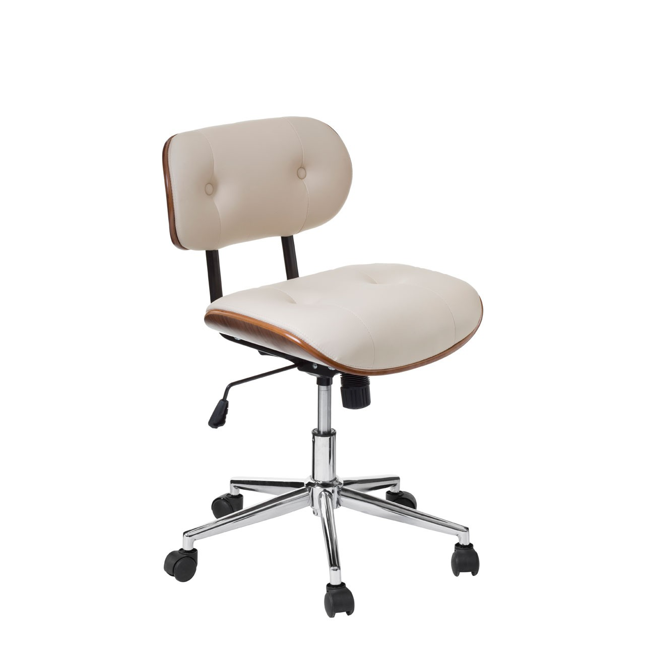 Office Chair, Faux Leather, Bentwood/Cream