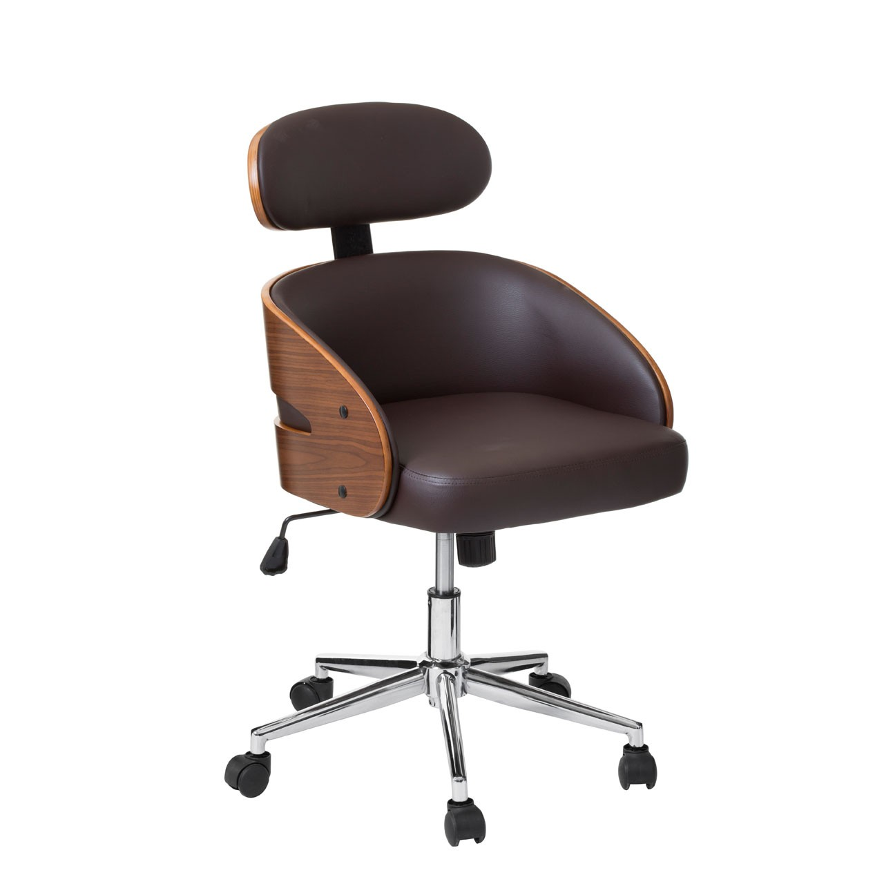 Office Chair, Faux Leather, Bentwood/Brown
