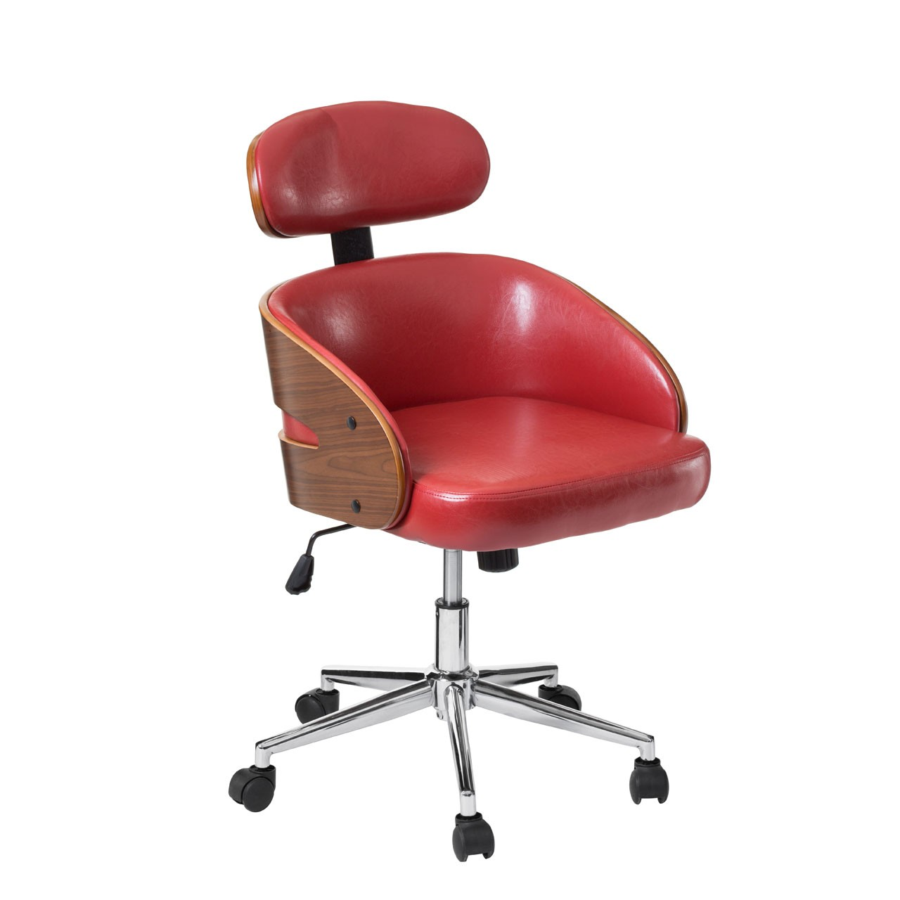 Office Chair, Faux Leather, Bentwood/Claret Red