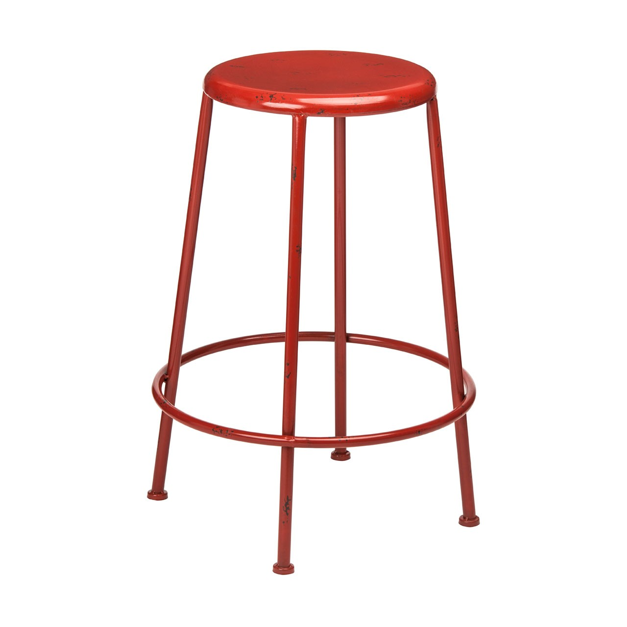 Artisan Stool Red Stool Has Chipped Paint Detail Wonderful