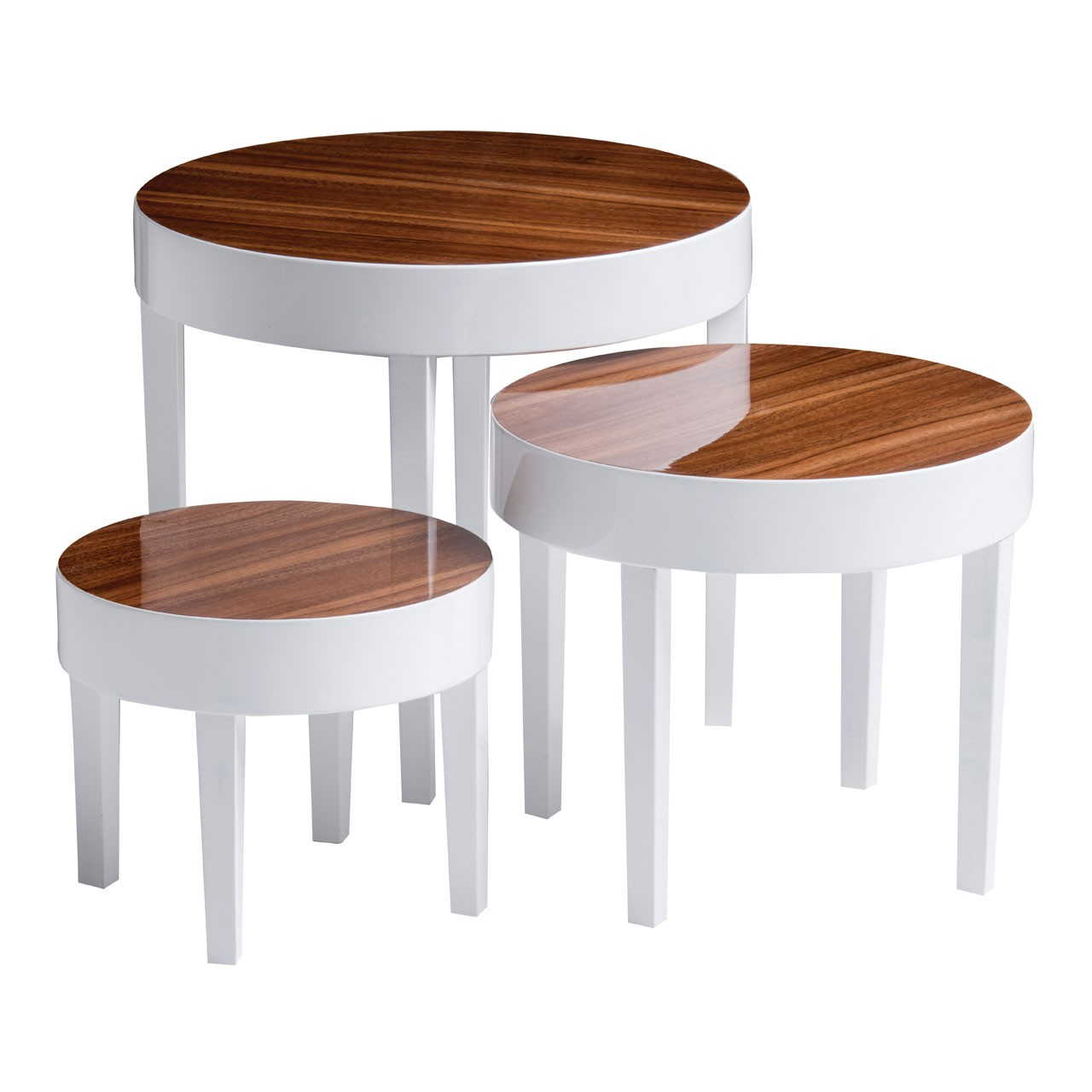 Pear Wood High Gloss Table, Set of 3, White