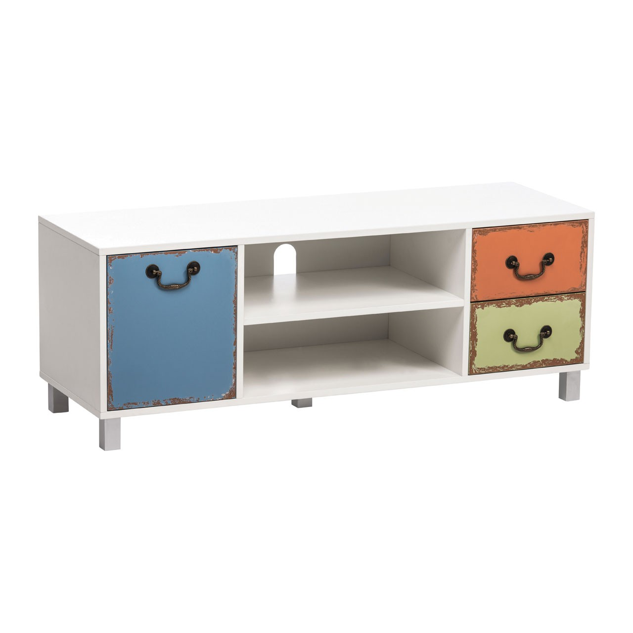 Alchemy Media Unit White Wood/Coloured Drawers