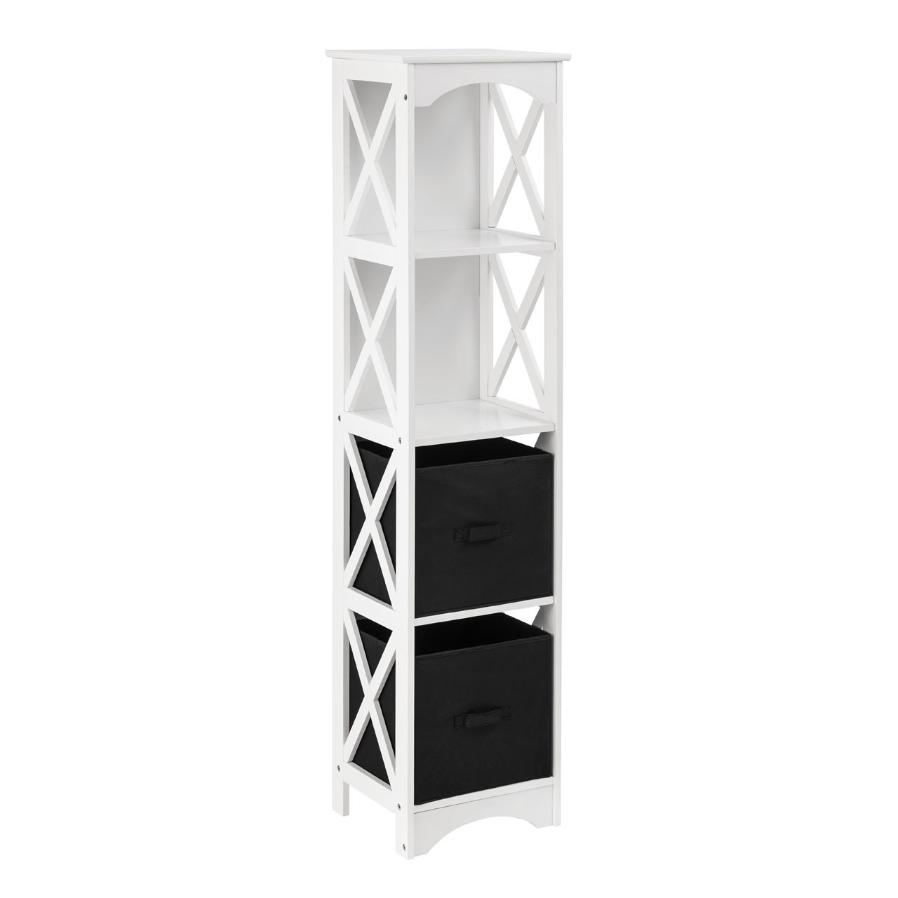 Prime Furnishing 4-Tier Storage Unit, White/Black