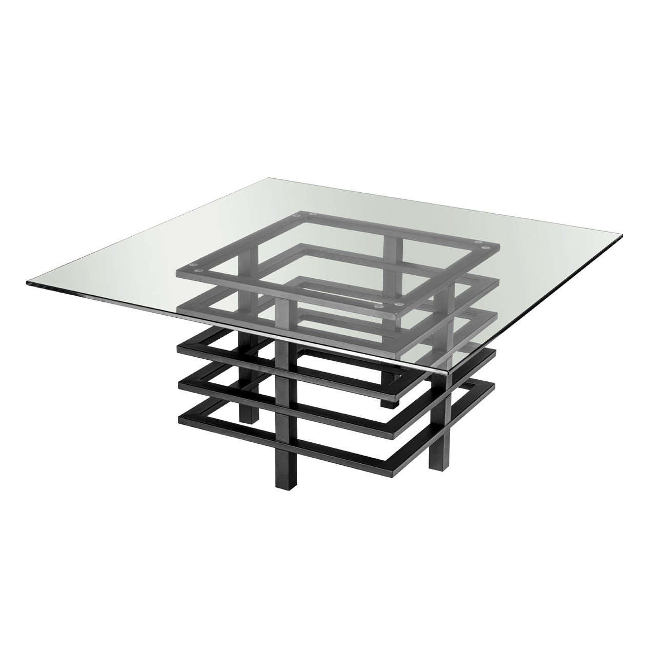 Monaco Coffee Table, Clear Glass/Black Powder Coated Metal Frame