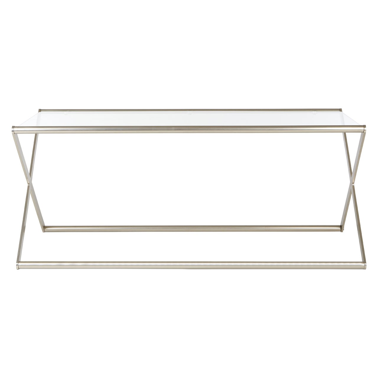 Roma Coffee Table Clear Tempered Glass Satin Nickel