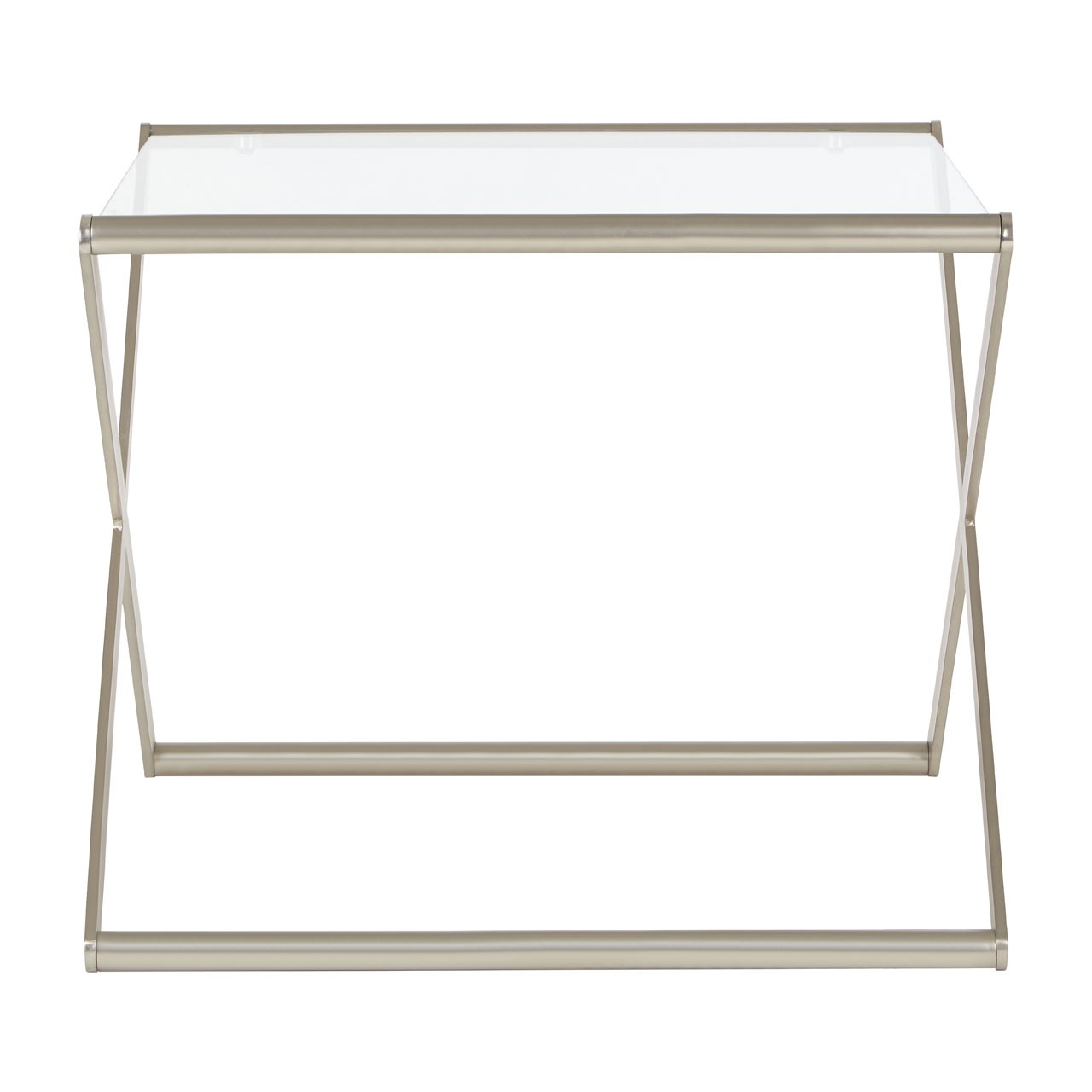 Roma Side Table Clear Tempered Glass Satin Nickel