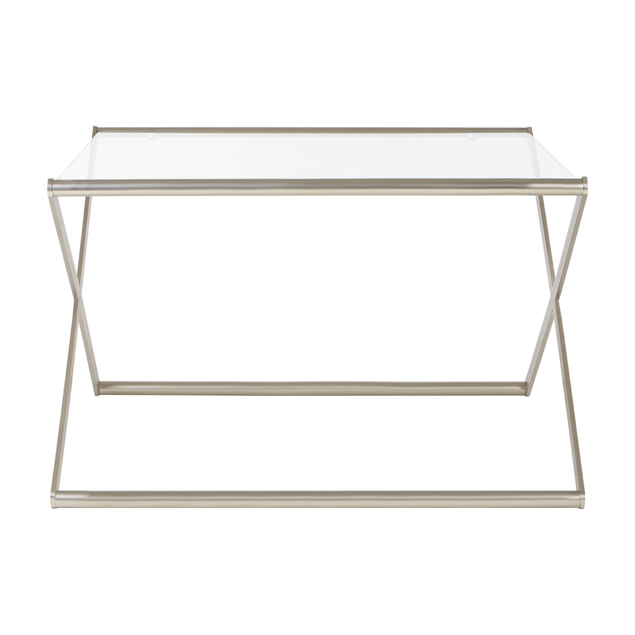 Roma Square Coffee Table Clear Tempered Glass Satin Nickel