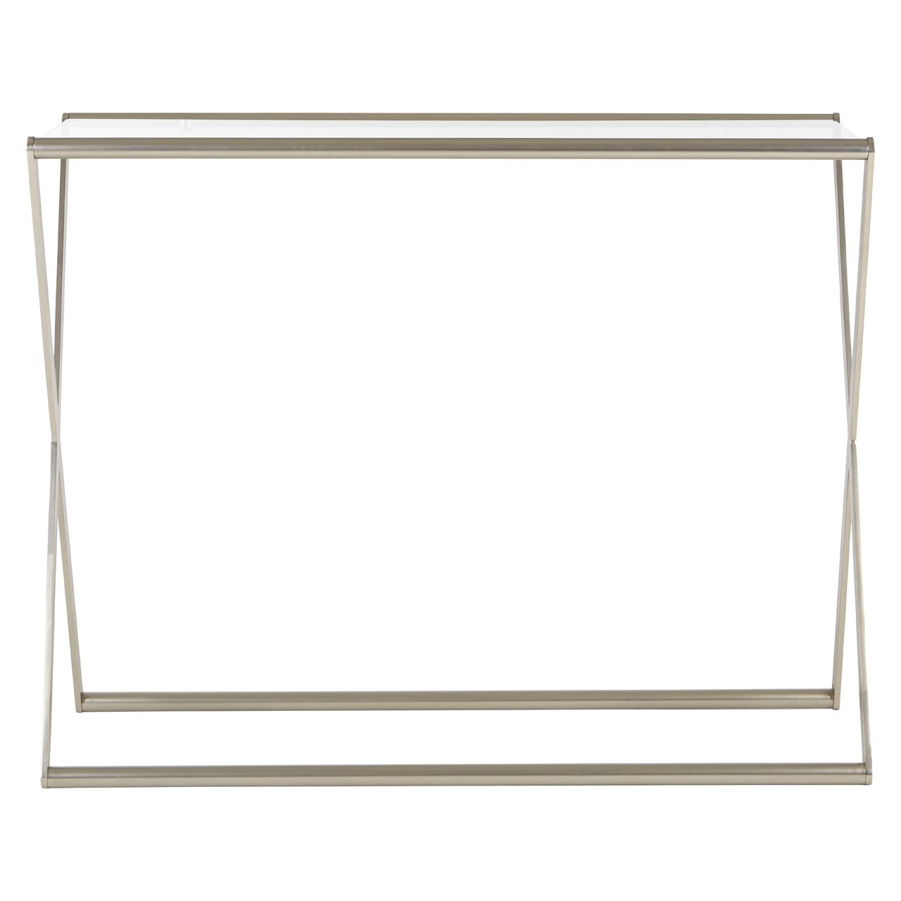 Roma Console Table Clear Tempered Glass Satin Nickel