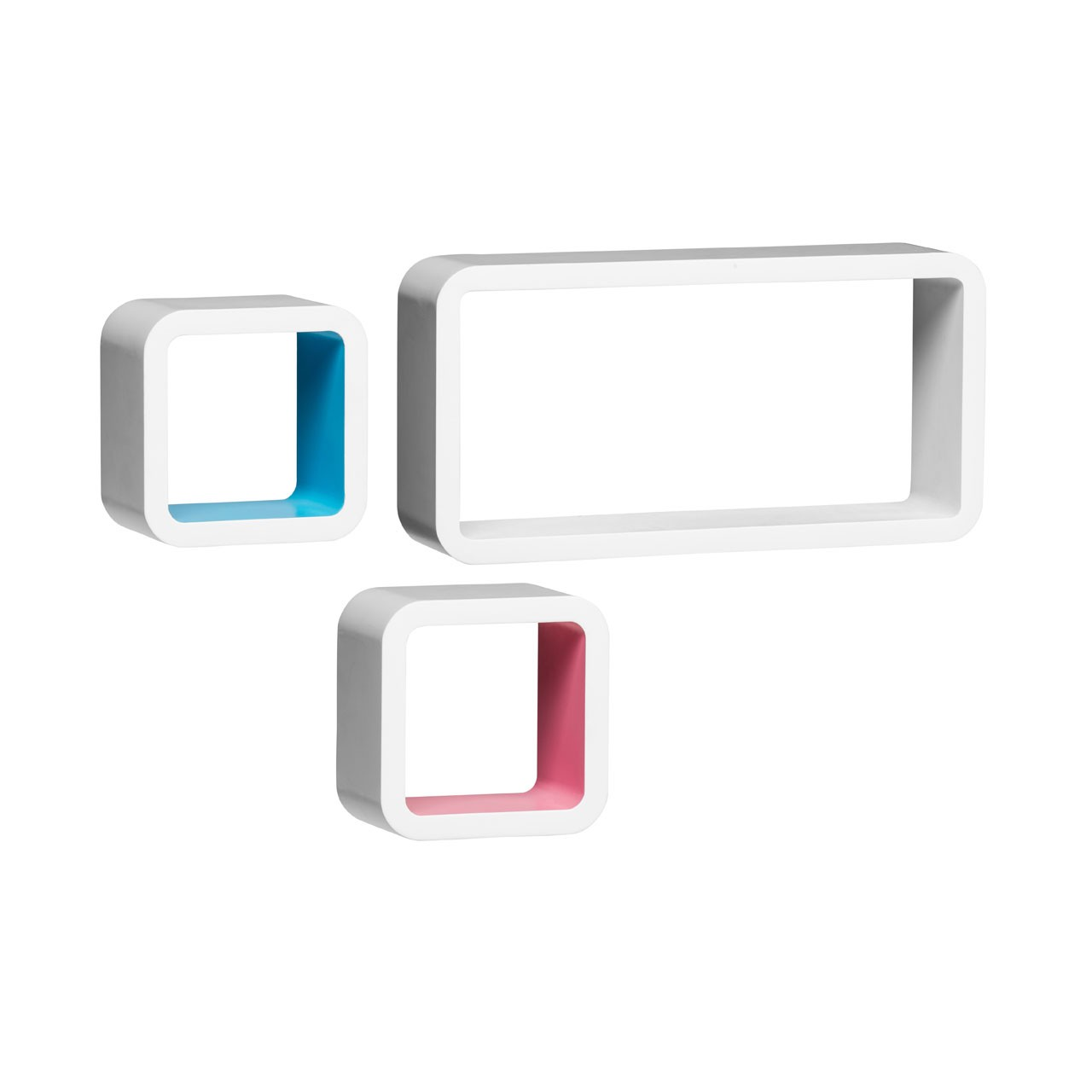 Wall Cubes, Set of 3, White/Pink/Blue