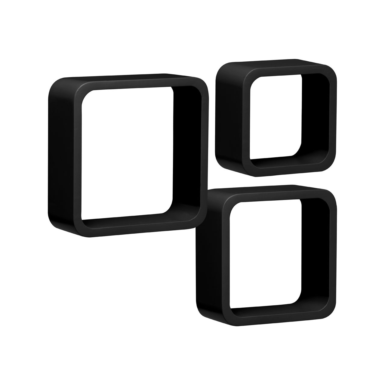 Wall Cubes, Set of 3, Black