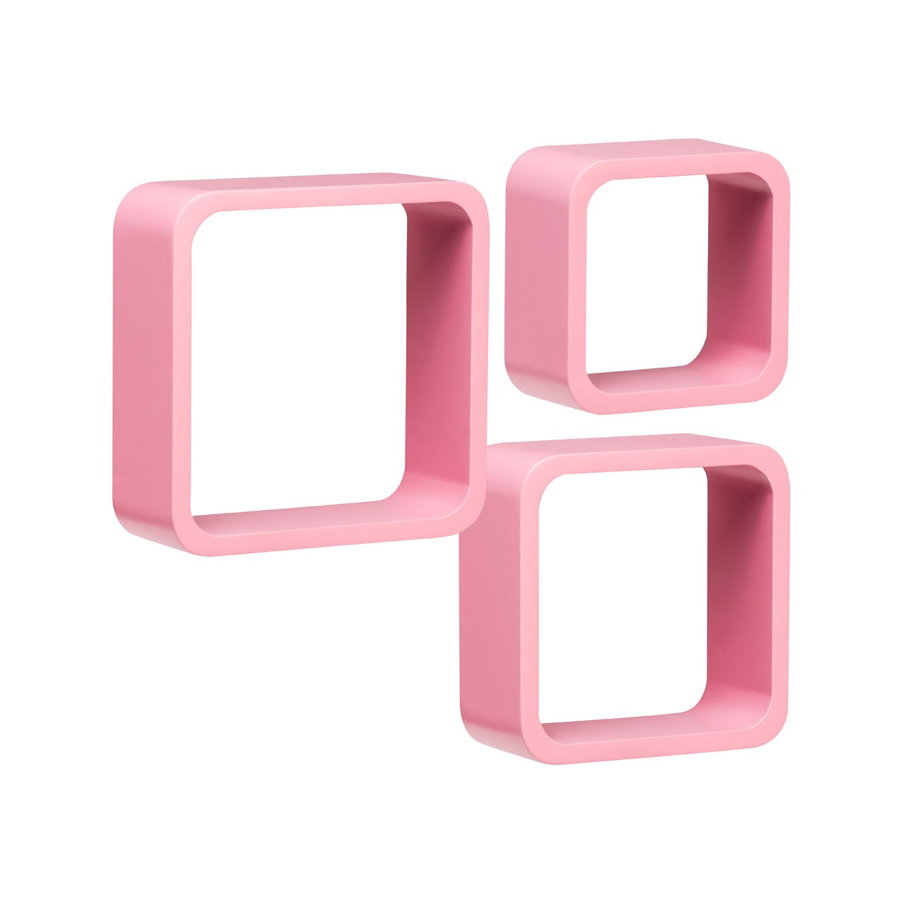 Wall Cubes, Set of 3, Pink