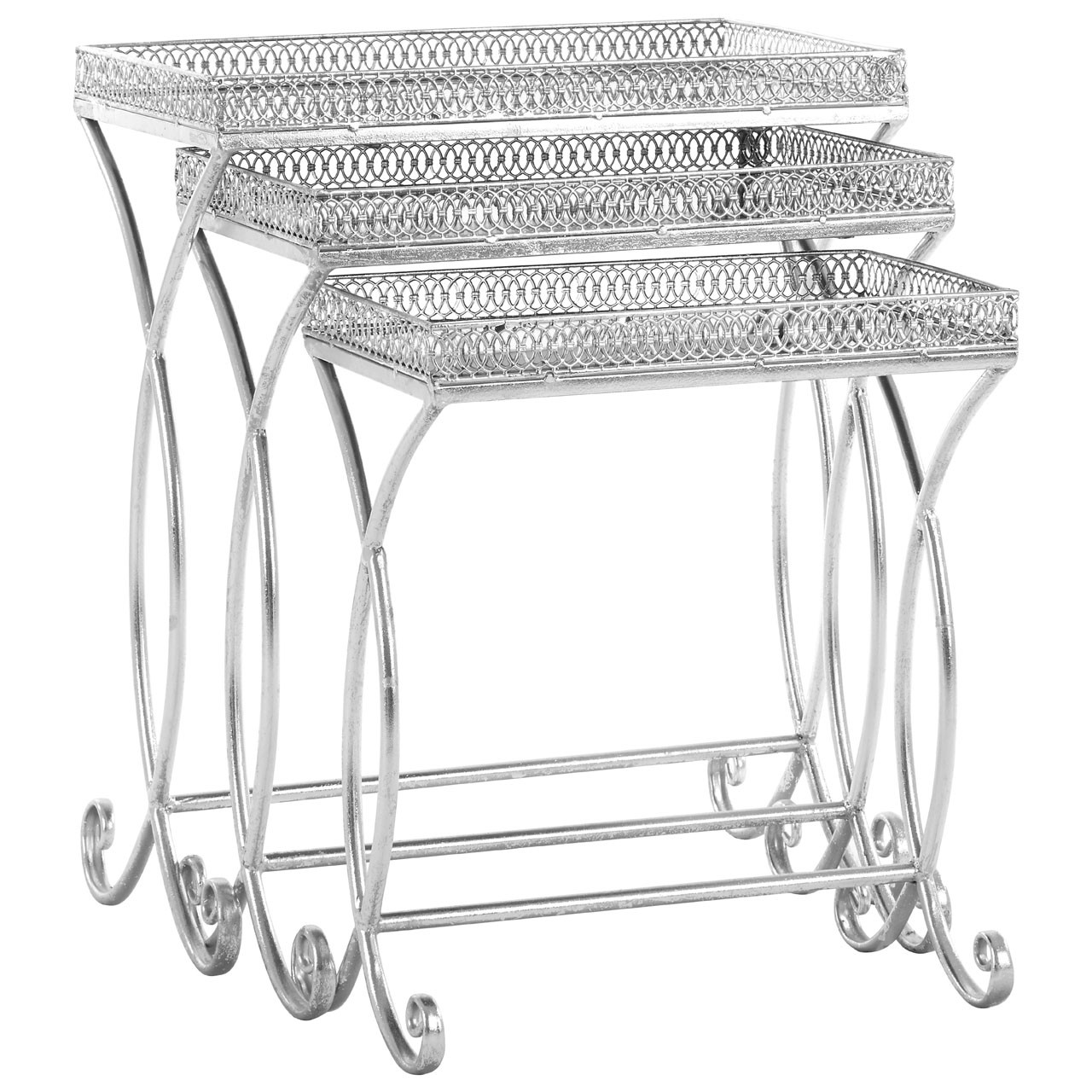 Antalya Nest Of 3 Tables Metal / Mirrored