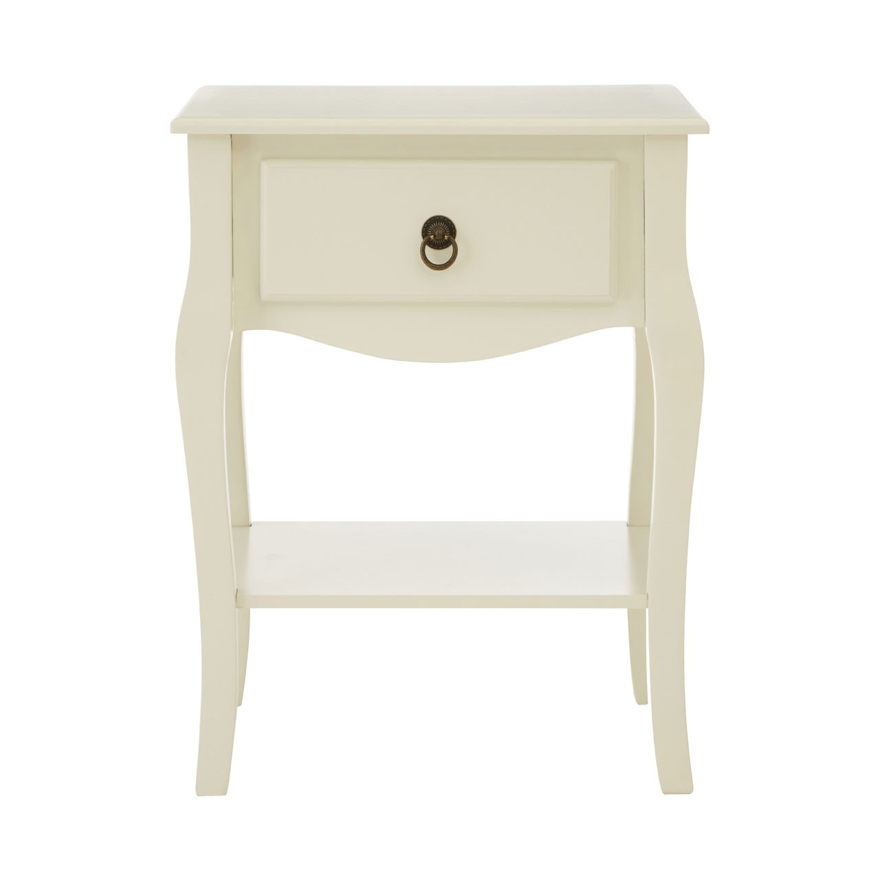 Sorrento Side Table MDF, Ivory Single Drawer