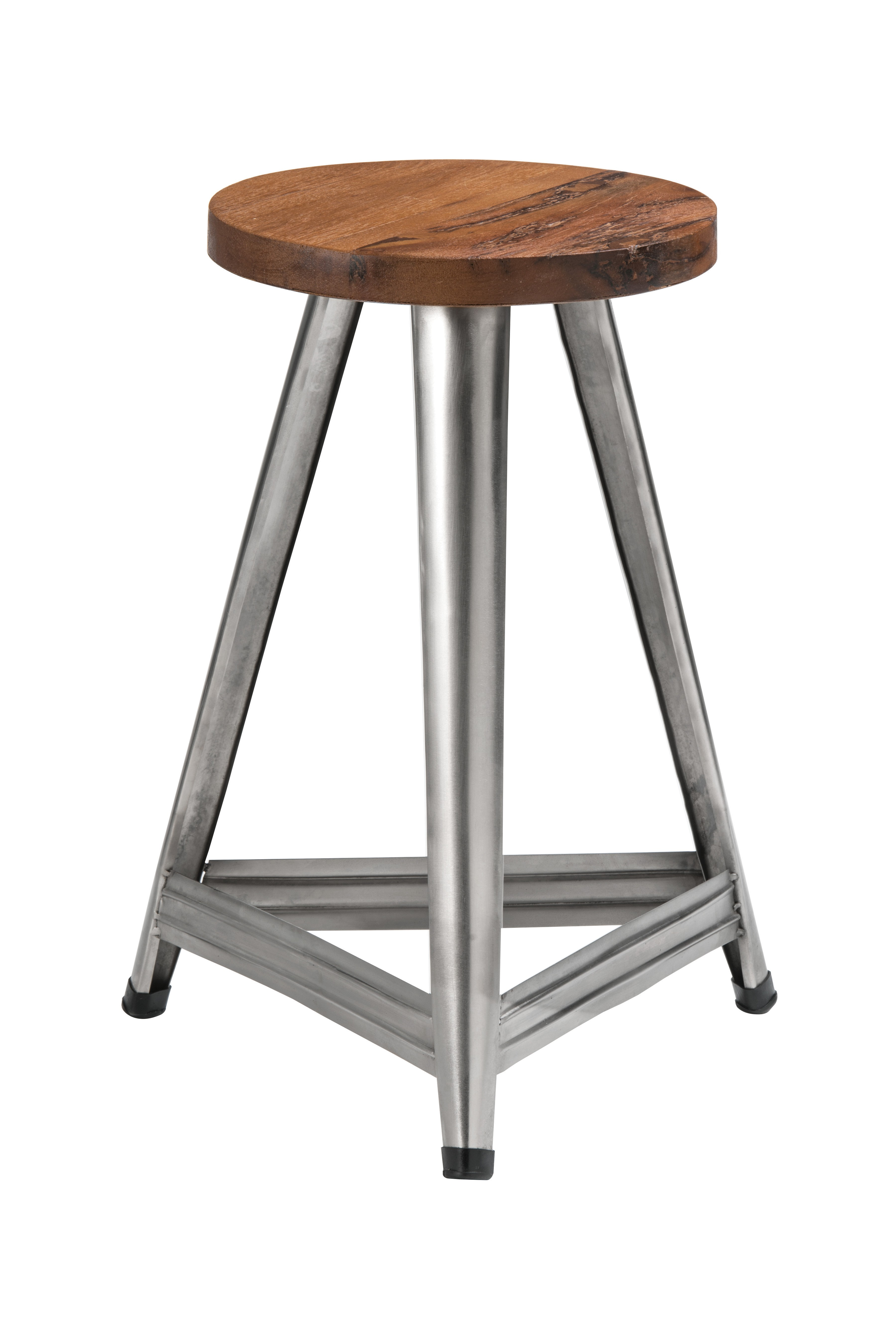 Aviator Large Stool Antique Wood Antique Silver Metal