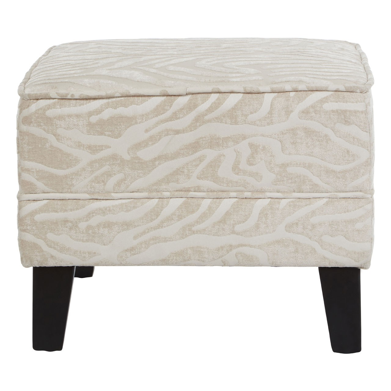 Luxe Footstool with Textured Animal Print, Fabric, Natural