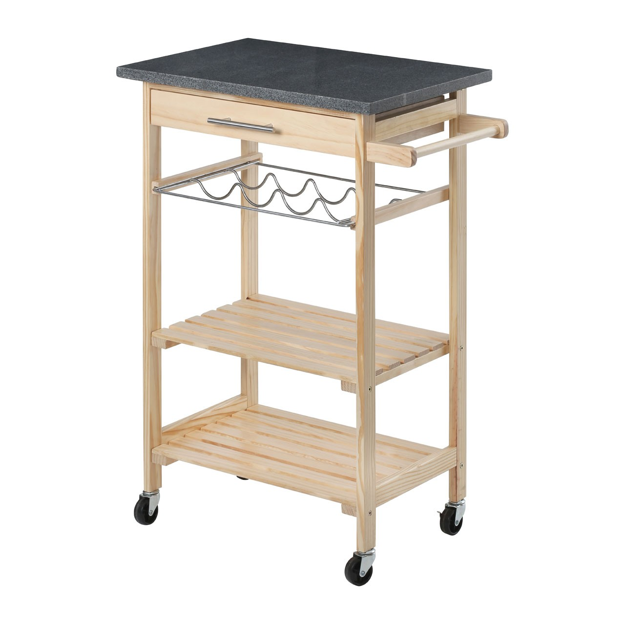 Black Granite Top Kitchen Trolley Pinewood Storage Solutions