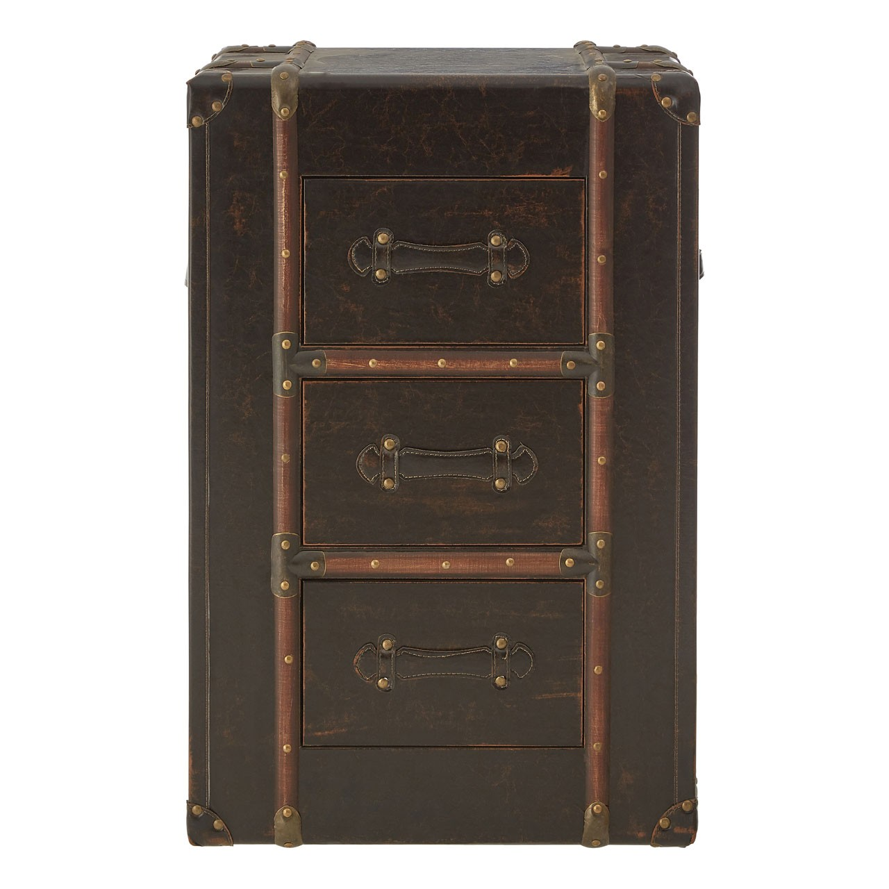 Bogart Drawer Chest MDF / Brown Leather Effect (PU) 3 Drawers