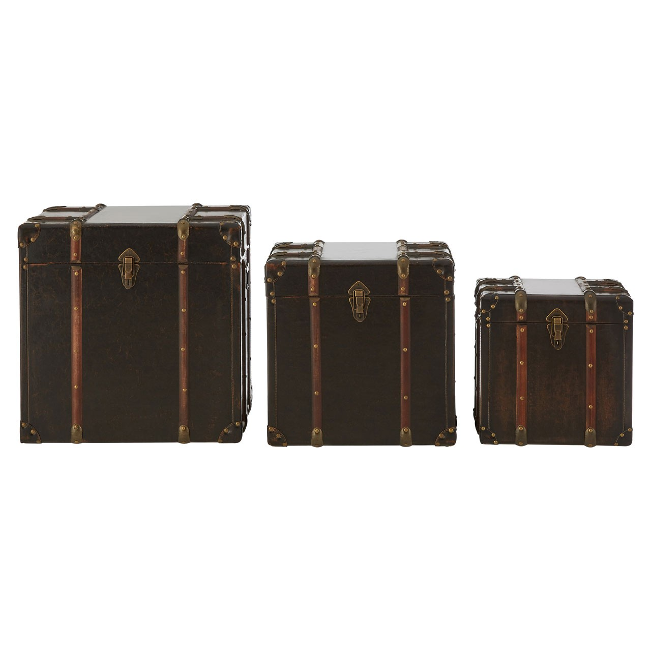Bogart Storage Trunks MDF / Brown Leather Effect (PU) Set of 3