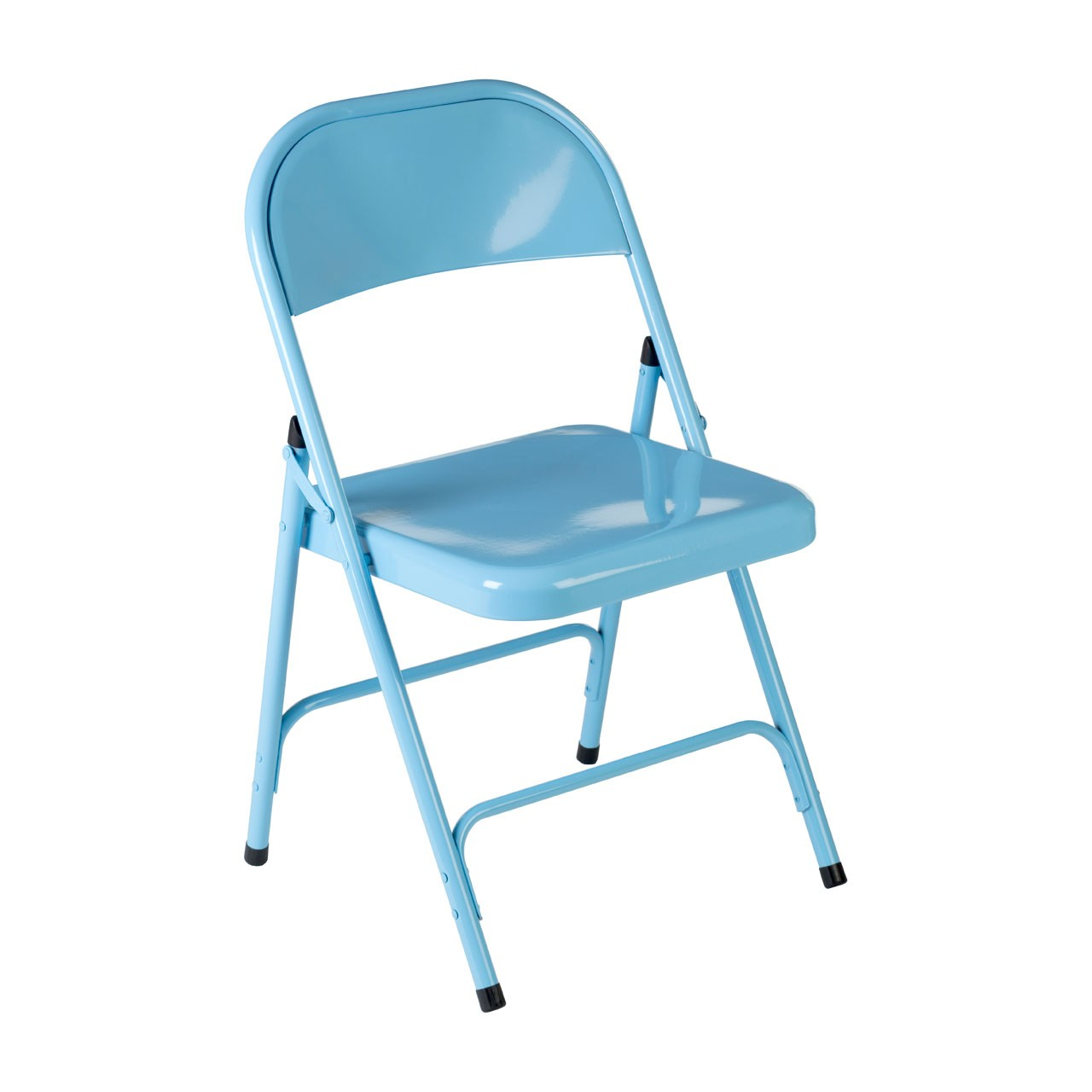 Folding Chair, Blue, Metal - Set Of 2