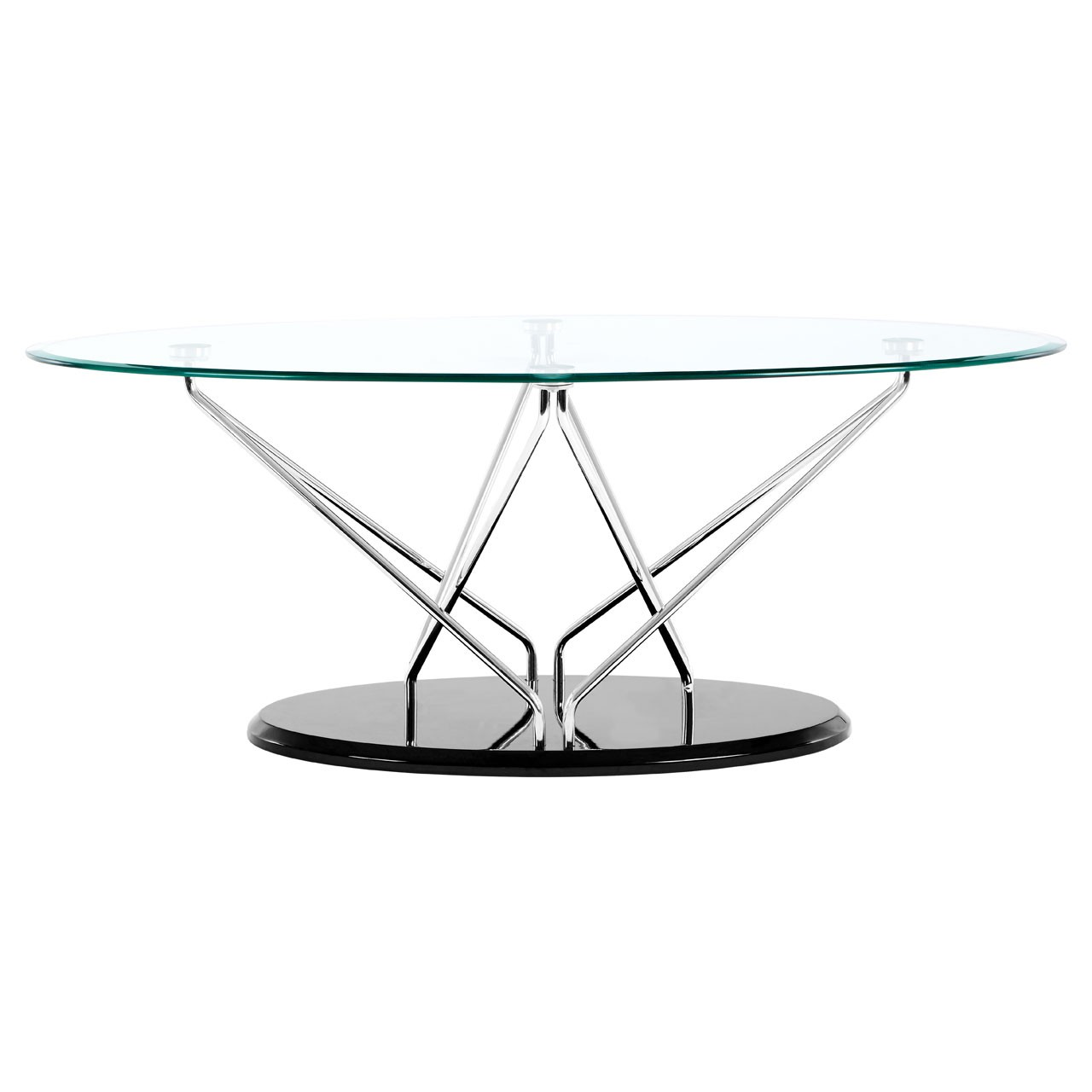 Halo Oval Coffee Table, Glass - Black