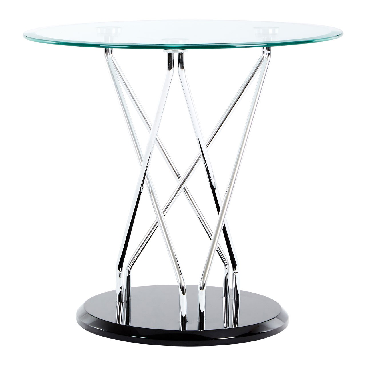 Halo Round Side Table, Glass - Black