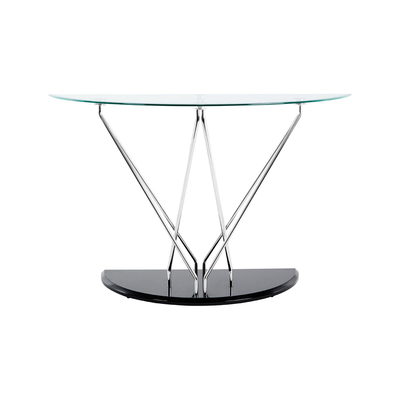 Halo Half Moon Console Table, Glass - Black