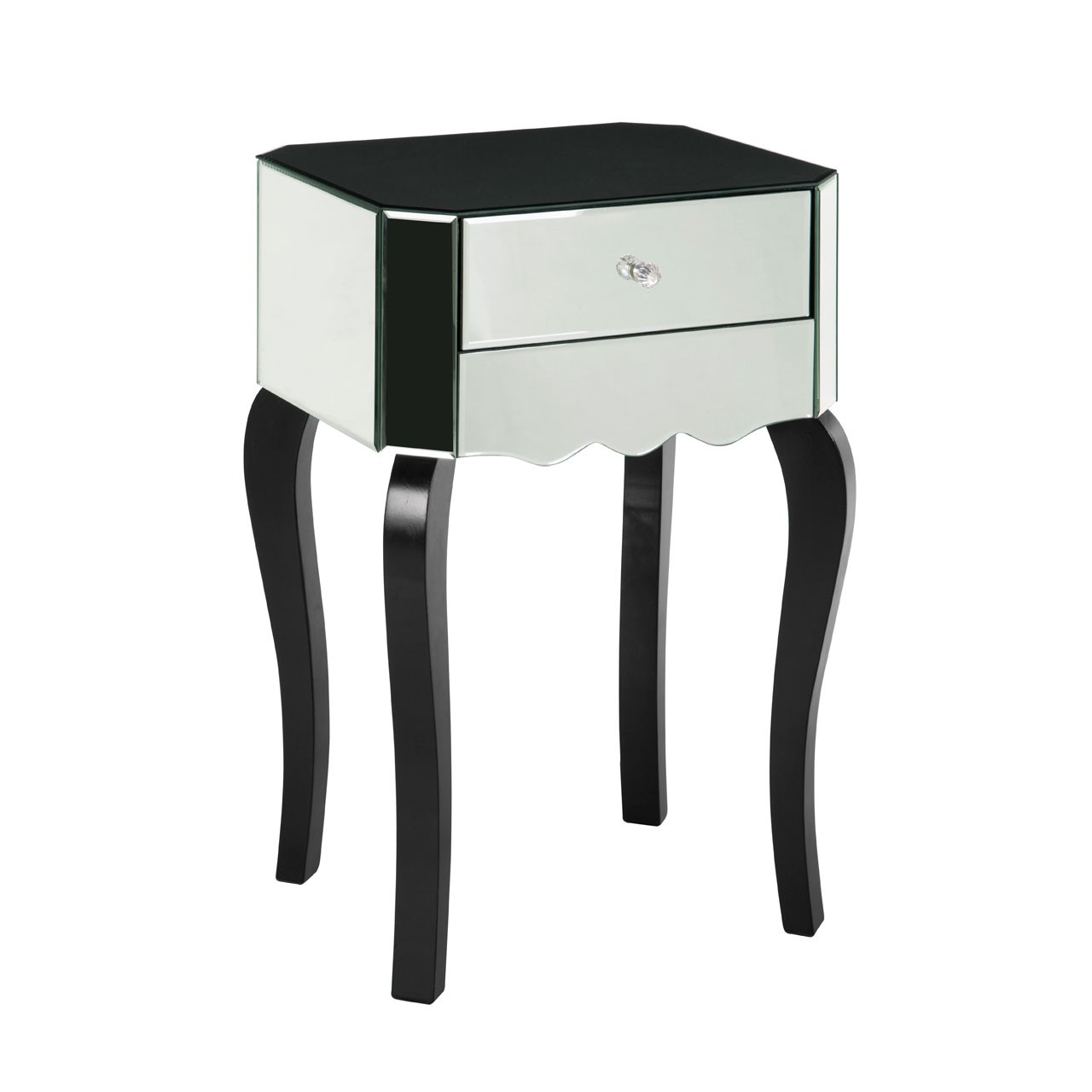 Orchid Mirrored Side Wood Table - Silver