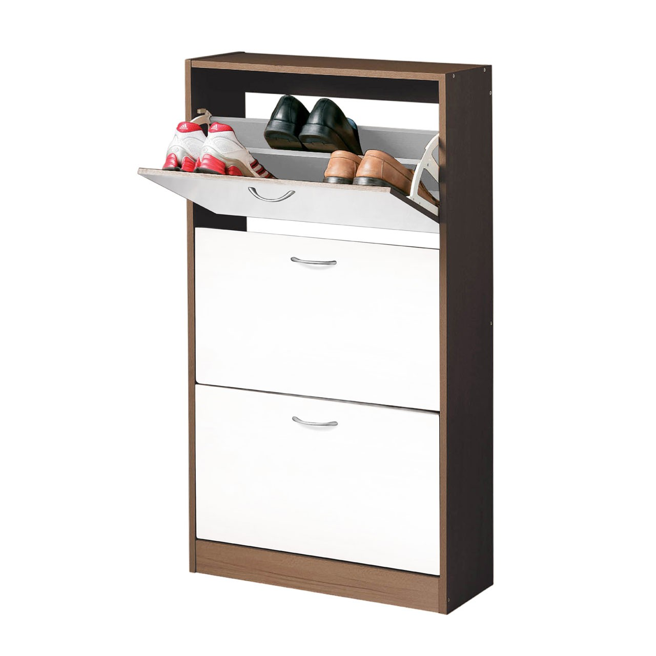 Prime Furnishing 3 Drawer Shoe Cupboard, Wood - Walnut/White
