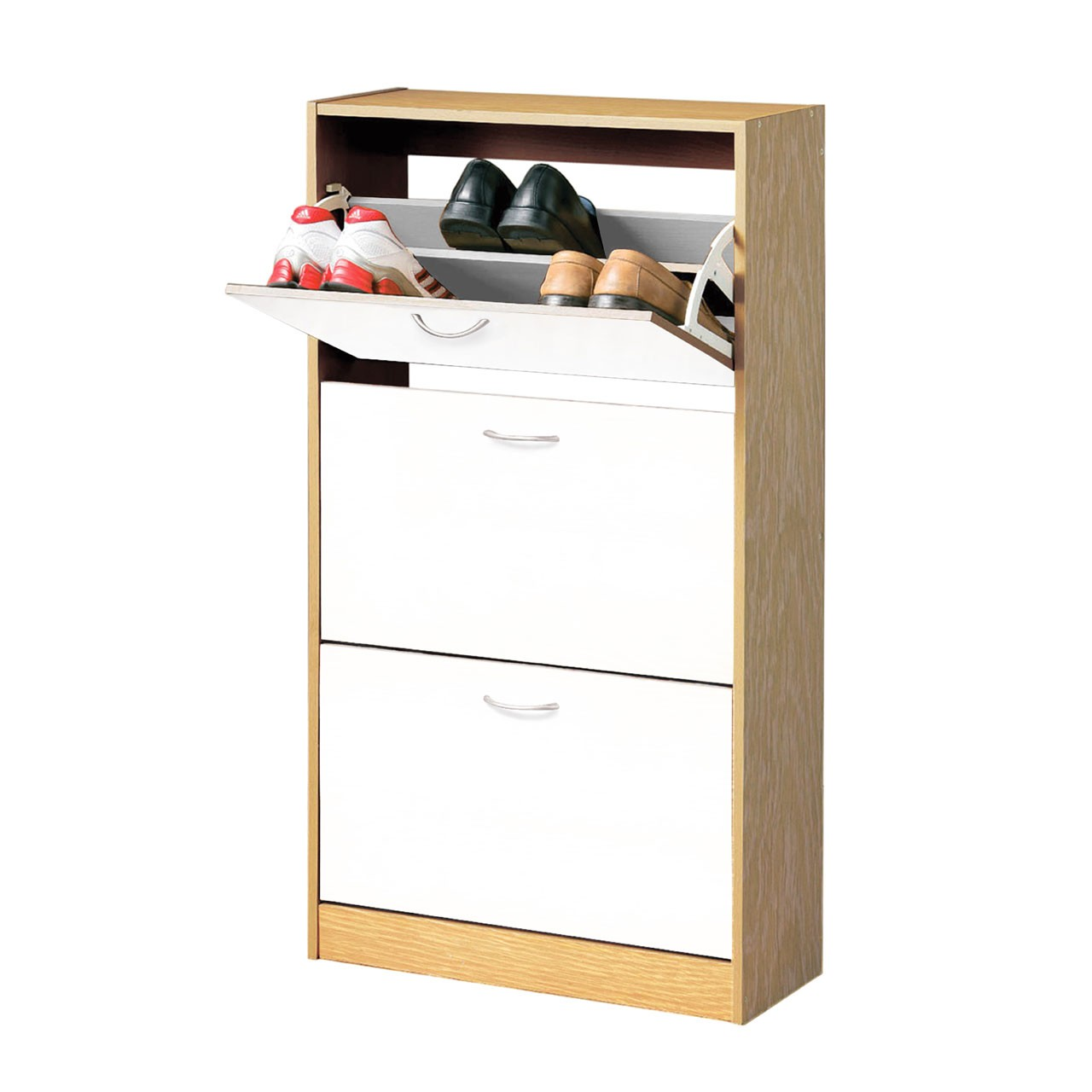 Prime Furnishing 3 Drawer Wood Shoe Cupboard - Oak/White