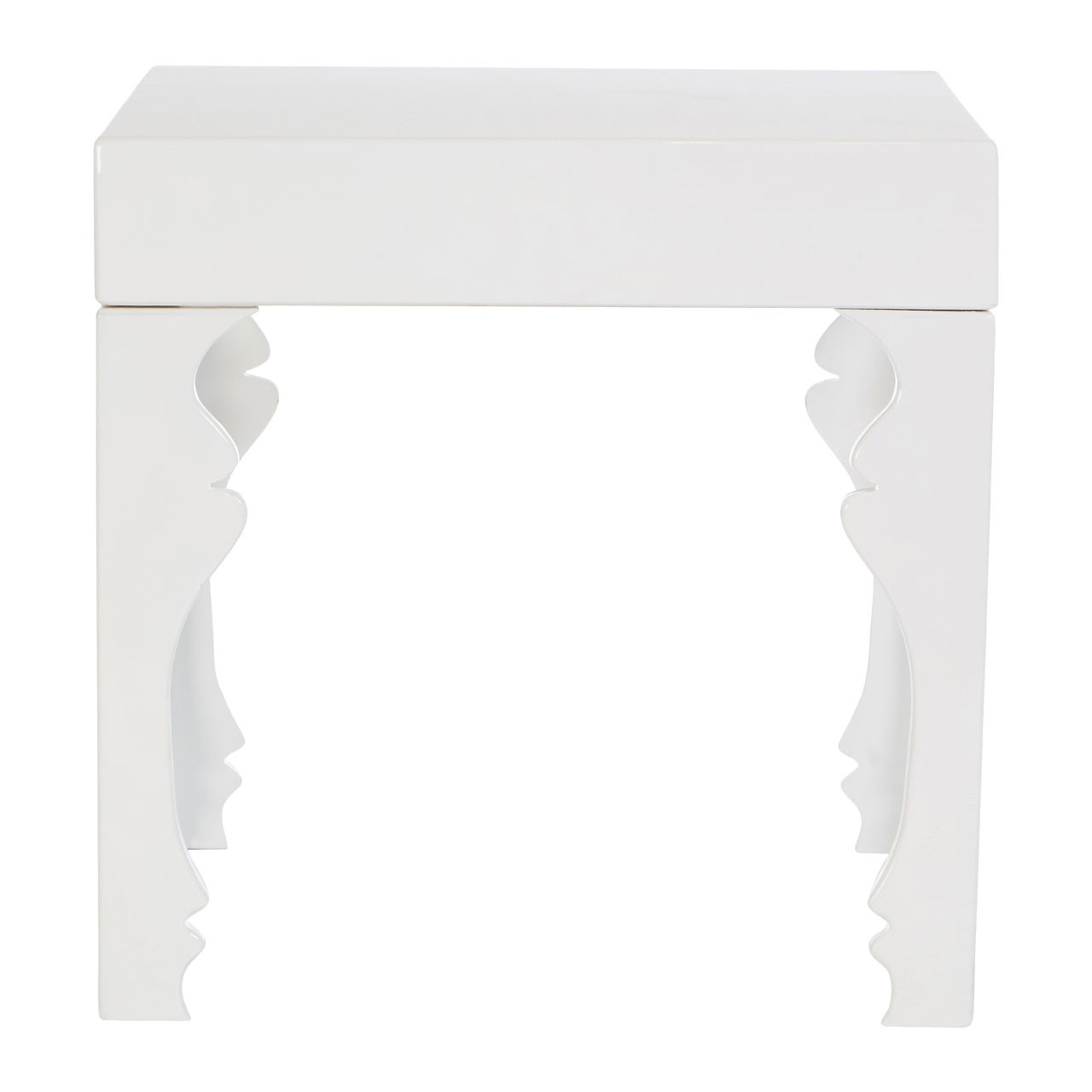 Luis Side Table MDF White Hi Gloss