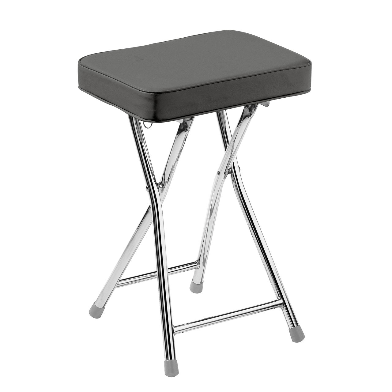 Rectangle Shaped Folding Stool with Chrome Frame - Grey