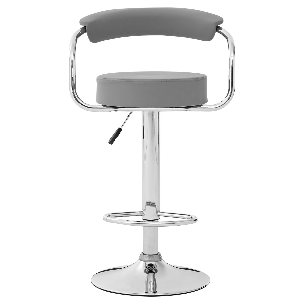 Scala Bar Chair, Grey Leather Effect, Chrome Base