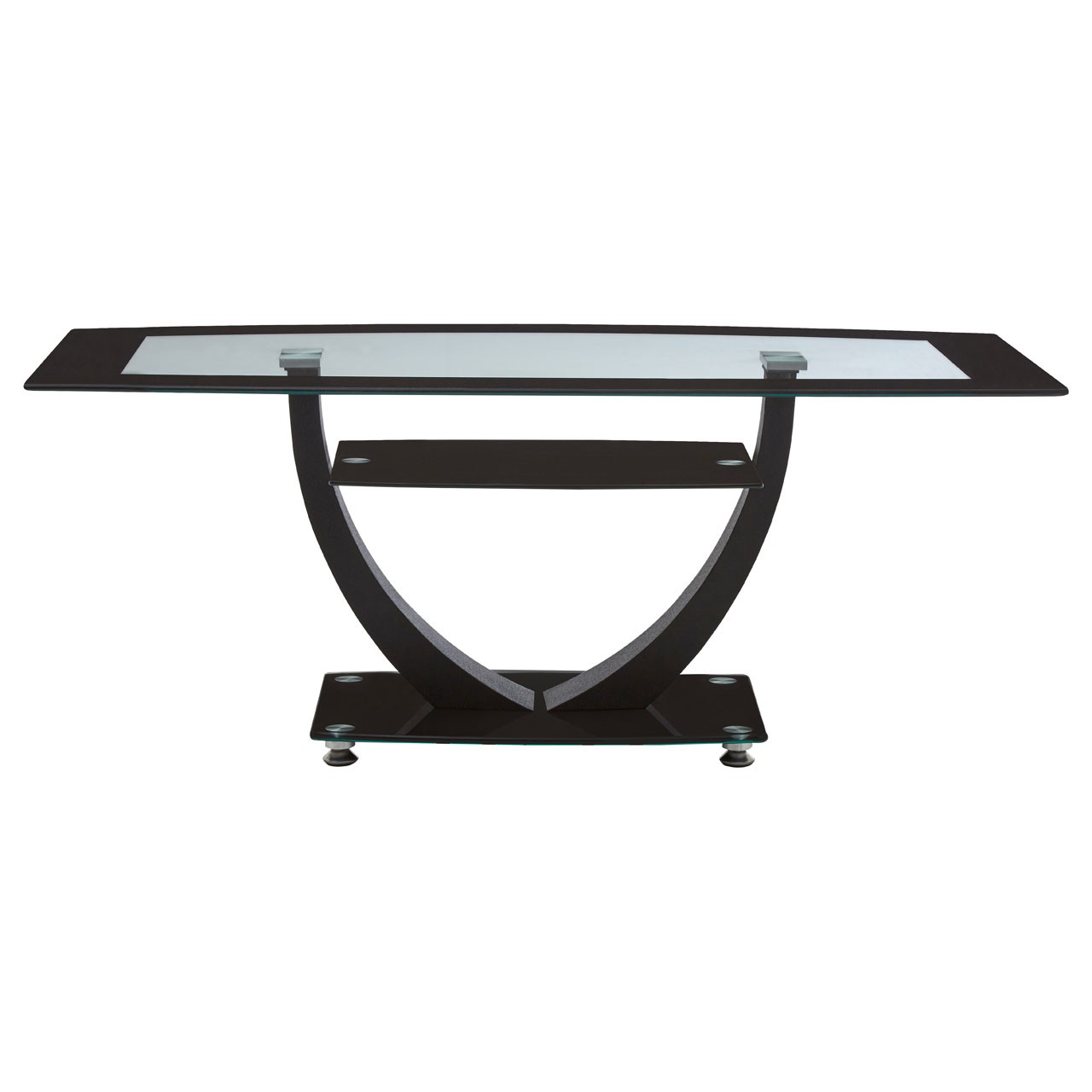 Coffee Table with Tempered Glass, Metal, Black
