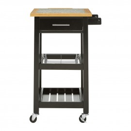 Kitchen Trolley natural wood and granite trolley